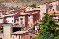 Picturesque residence houses in albarracin stony teruel aragon Royalty Free Stock Photos