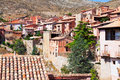 Picturesque residence houses in albarracin stony teruel spain Stock Image