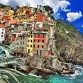 Picturesque riomaggiore fishing village cinque terre italy Stock Photo