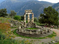 The Picturesque Sanctuary of Athena Pronaia on the Mountainside of Delphi Royalty Free Stock Photo
