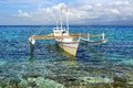 Picturesque seascape boat apo island philippines Royalty Free Stock Photo