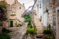Small town street view in Mali Ston, Croatia Royalty Free Stock Photo