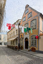 Picturesque street of old riga latvia drying the linen on the Royalty Free Stock Photography