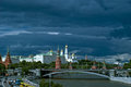Picturesque tourist view of the Moscow Kremlin with the bridge over the Moscow river Royalty Free Stock Photo