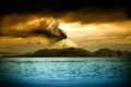 Picturesque view erupting volcano illustration Royalty Free Stock Photography