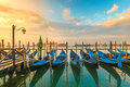 Picturesque view famous gondolas sunrise Venice Italy Royalty Free Stock Photo