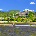 Picturesque village in provence scenic view of a with lavender fields the foreground france Royalty Free Stock Image
