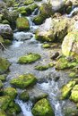 Picturesque waterfall and rocks covered with green moss. Tatra Mountains,