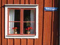 Picturesque window with flowers. Linkoping. Sweden Royalty Free Stock Photo