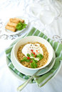 Picy oriental noodles with poached egg Stock Photography