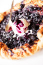 Pie with blueberry and a scoop of ice cream Royalty Free Stock Photo