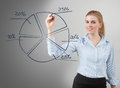 Pie chart businesswoman hand drawing a graph on glass board Stock Photo