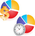 Pie chart with clock Stock Photography