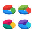 Pie chart on isolated background. Set of bulk isometric pie char