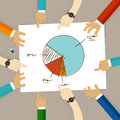 Pie chart team work on paper looking to business concept of planning hands pointing collaboration group in office