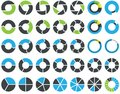 Pie charts and circular graph infographic kit Stock Image