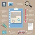 Pie charts, medicine infographic on flat design