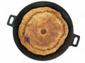 Pie on a frying pan house Royalty Free Stock Images