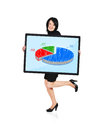 Pie graph woman holding panel with Stock Image