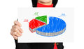 Pie graph woman holding paper with of profit Stock Photo