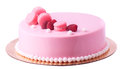 Pie in pink glaze decorated macaroons and raspberry Royalty Free Stock Photo