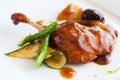 Piec na grillu kaczka z słodkim owocowym kumberlandem Fotografia Stock