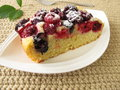 Piece of berry cake with powdered sugar Royalty Free Stock Photos