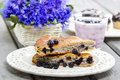 Piece of blueberry pie selective focus festive and party dessert Royalty Free Stock Photography