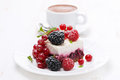 Piece of cake with fresh berries and coffee close up horizontal Stock Photos