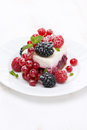 Piece of cake with fresh berries vertical close up Royalty Free Stock Photography
