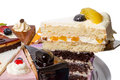 Piece of cake with fruits on the scapula side view close up Royalty Free Stock Photo