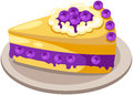 Piece of cake illustration isolated raspberry on white Royalty Free Stock Photography