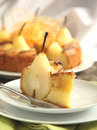 Piece of cake with pears with spun sugar strands selective focu Stock Photos