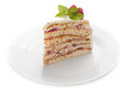 Piece of cake on a plate white background Royalty Free Stock Photos
