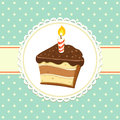 Piece of cake vintage background with with candle invitation template vector illustration Royalty Free Stock Image