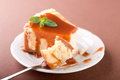 Piece of cheesecake with a fork Royalty Free Stock Photo