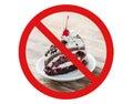 Piece of cherry chocolate cake behind no symbol