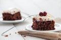 Piece of cherry and meringue cake photo Stock Photos