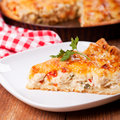 Piece of a chicken meat pie on plate Royalty Free Stock Photos