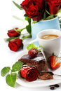 Piece of chocolate cake with coffee Royalty Free Stock Images