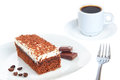 Piece of chocolate cake and coffee. Royalty Free Stock Photos
