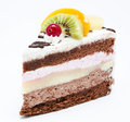 Piece of chocolate cake with icing and fresh fruit Royalty Free Stock Photo