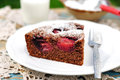 A piece of chocolate plum cake on plate Stock Image