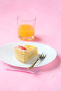 Piece of Coconut Tart with Fresh Grapefruit and Pineapple Gummies Royalty Free Stock Photo