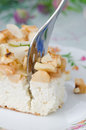 Piece of cottage cheese with apple pie with a fork closeup Stock Image