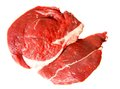 Piece of damp meat on white fresh background is insulated Royalty Free Stock Photography