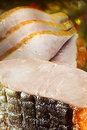 Piece delicacy sturgeon smoked sliced Stock Photos