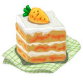 Piece of delicious cake with carrot on top