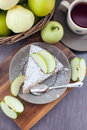Piece of homemade apple pie with cinnamon top view Royalty Free Stock Image