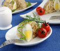 A piece of jellied chicken and egg Royalty Free Stock Images